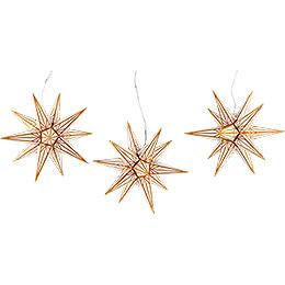 Haßlauer Weihnachtsstern 3er-Set Ministern für Innen weiß mit Goldmuster - 16 cm