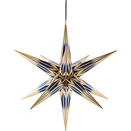 Haßlauer Weihnachtsstern für Innen und Außen blau/weiß mit Goldmuster inkl. Beleuchtung - 75 cm