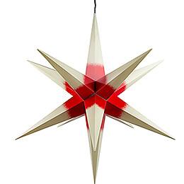 Haßlauer Weihnachtsstern für Innen und Außen cremefarben mit rotem Kern inkl. Beleuchtung - 75 cm