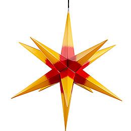 Haßlauer Weihnachtsstern für Innen und Außen gelb mit rotem Kern inkl. Beleuchtung - 75 cm