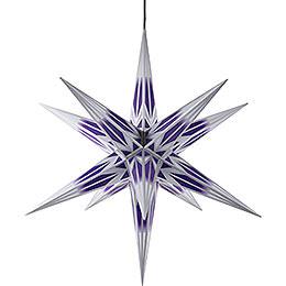 Haßlauer Weihnachtsstern für Innen und Außen lila/weiß mit Silbermuster inkl. Beleuchtung - 75 cm