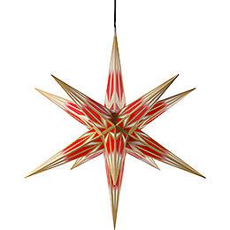Haßlauer Weihnachtsstern für Innen und Außen rot/weiß mit Goldmuster inkl. Beleuchtung - 75 cm