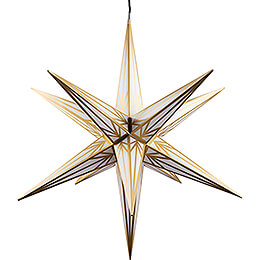 Haßlauer Weihnachtsstern für Innen und Außen weiß mit Goldmuster inkl. Beleuchtung - 75 cm