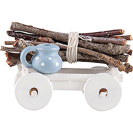 Hand Cart with Wood Bundle - 1,6 cm / 0.6 inch