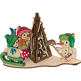 Handicraft Set - Smoking Campfire with Snowmen - 11 cm / 4.3 inch