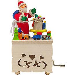 Handkurbelkästel Weihnachtsmann - 10 cm