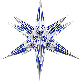 Hartenstein Christmas Star for Inside Use - White-Blue with Silver - 68 cm / 27 inch