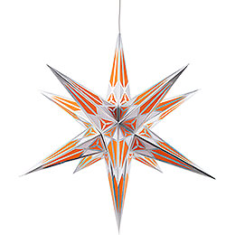Hartenstein Christmas Star for Inside Use - White-Orange with Silver - 68 cm / 27 inch