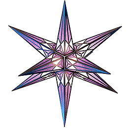 Hartenstein Christmas Star for Inside Use - White-Purple with Silver - 68 cm / 27 inch