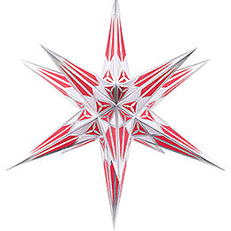 Hartenstein Christmas Star for Inside Use - White-Wine Red with Silver - 68 cm / 27 inch