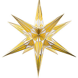 Hartenstein Christmas Star for Inside Use - White-Yellow with Gold - 68 cm / 27 inch