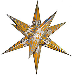 Hartenstein Christmas Star for Inside Use - White-Yellow with Silver - 68 cm / 27 inch