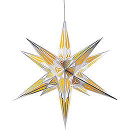 Hartensteiner Weihnachtsstern für Innen - weiß-gelb mit silber - 68 cm