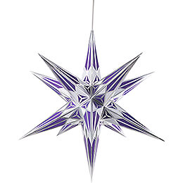Hartensteiner Weihnachtsstern für Innen - weiß-lila mit silber - 68 cm