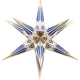 Hartensteiner Weihnachtsstern für Innen - weiß-blau mit gold - 68 cm