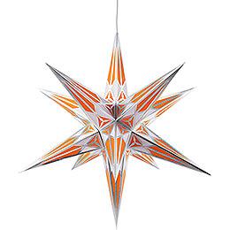 Hartensteiner Weihnachtsstern für Innen - weiß-orange mit silber - 68 cm