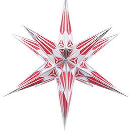 Hartensteiner Weihnachtsstern für Innen - weiß-weinrot mit silber - 68 cm