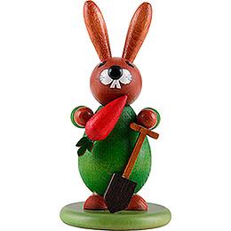 Hase grün mit Möhre - 9 cm