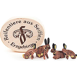 Hasenfamilie in Spandose - 3 cm