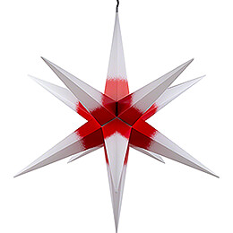 Hasslau Christmas Star - White with Red Core and Lighting - 75 cm / 30 inch -  Inside/Outside Use