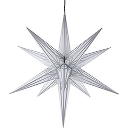 Hasslau Christmas Star - White with Silver Pattern and Lighting - 75 cm / 30 inch -  Inside/Outside Use