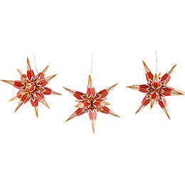 Haßlauer Weihnachtsstern 3er-Set Ministern für Innen rot/weiß mit Goldmuster - 16 cm