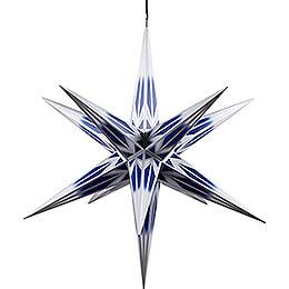 Haßlauer Weihnachtsstern für Innen und Außen blau/weiß mit Silbermuster inkl. Beleuchtung - 75 cm