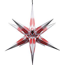 Haßlauer Weihnachtsstern für Innen und Außen rot/weiß mit Silbermuster inkl. Beleuchtung - 75 cm