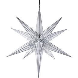 Haßlauer Weihnachtsstern für Innen und Außen weiß mit Silbermuster inkl. Beleuchtung - 75 cm