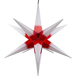 Haßlauer Weihnachtsstern für Innen und Außen weiß mit rotem Kern inkl. Beleuchtung - 75 cm