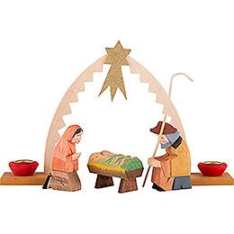 Heilige Familie mit Krippenbogen 4-teilig - 9,5 cm