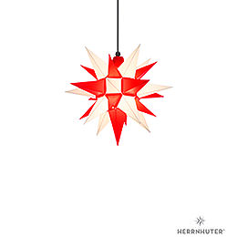 Herrnhuter Moravian Star A4 White/Red Plastic - 40cm/16 inch