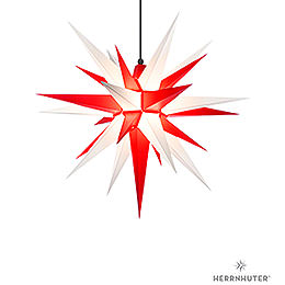Herrnhuter Moravian Star A7 White/Red Plastic - 68cm/27 inch