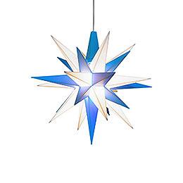 Herrnhuter Stern A1e weiß/blau Kunststoff - 13 cm