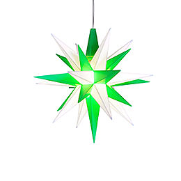 Herrnhuter Stern A1e weiß/grün Kunststoff - 13 cm