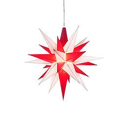 Herrnhuter Stern A1e weiß/rot Kunststoff - 13 cm