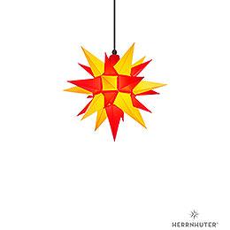 Herrnhuter Stern A4 gelb/rot Kunststoff - 40 cm