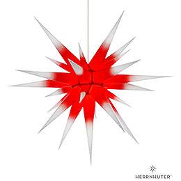Herrnhuter Stern I8 weiß/roter Kern Papier - 80 cm