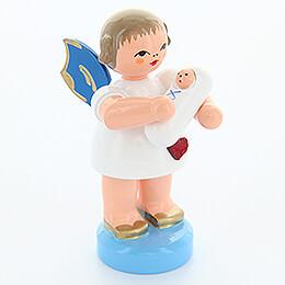 Herzengel mit Baby Junge - Blaue Flügel - stehend - 6 cm