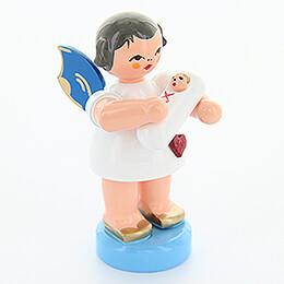 Herzengel mit Baby Mädchen - Blaue Flügel - stehend - 6 cm
