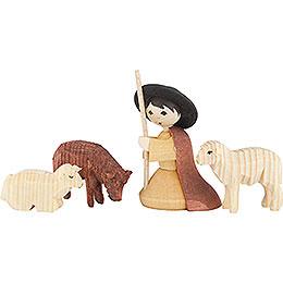 Hirte kniend mit 3 Schafen gebeizt - 7 cm