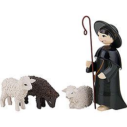 Hirte mit 3 Schafen farbig - 7 cm