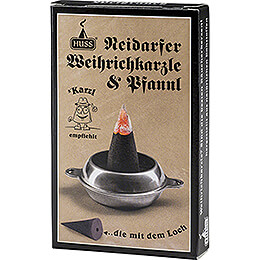 Huss Neudorfer Incense Cones with Hole - Frankincense - with Holder