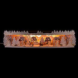 Illuminated Stand Reindeer Sleigh with Snow - 75x20x15 cm / 29.5x7.9x5.9 inch