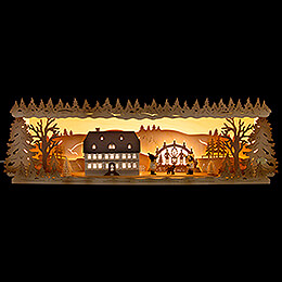 Illuminated Stand - Seiffen School with Candle Arch - 57x17 cm / 22.5x6.7 inch