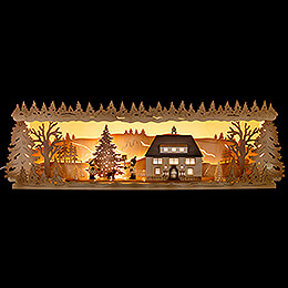 Illuminated Stand - Seiffen Townhall with Christmas Tree - 57x17 cm / 22.5x6.7 inch