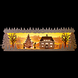 Illuminated Stand - Seiffen Townhall with Snow - 60x17 cm / 23.6x6.7 inch