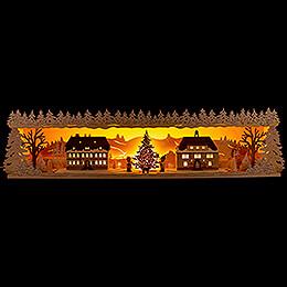 Illuminated Stand - Seiffen Village with Snow - 75x20 cm / 29.5x7.9 inch