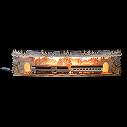 Illuminated Stand - Train Ride Through the Ore Mountains - 75x20x15 cm / 29.5x7.9x5.9 inch