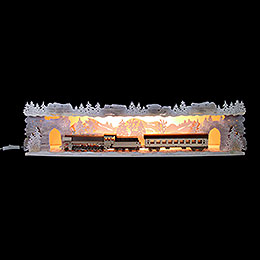 Illuminated Stand 'Train Ride Through the Ore Mountains' with Snow - 75x20x15 cm / 29.5x7.9x5.9 inch